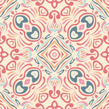 Flower Motif, Lines. Creative Fabric, Textiles. Tribal Ethnic Seamless Ornament In Arabic Style. Fragment Of Design Wallpaper, Tile, Packaging, Background. Handmade Mosaic.