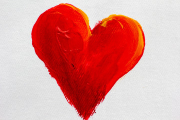 Hand Painted big red heart on white canvas