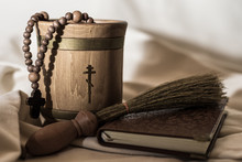 Wooden Bowl For Holy Water, Rosary, Book And Sprinkling Device