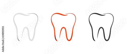 Fotografie, Obraz Teeth Set - Outline Vector Illustration - Isolated On White Background