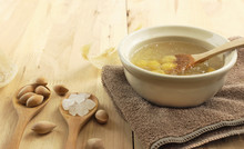 Bowl Of Swallow Nest Clear Soup And Ginkgo Seeds