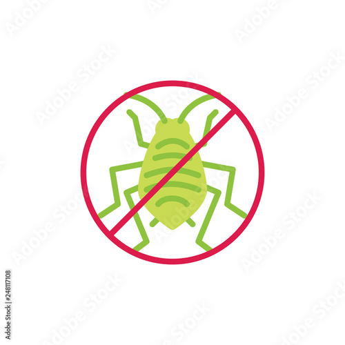 Stop aphid insect flat icon, vector sign, colorful pictogram isolated on white Canvas Print