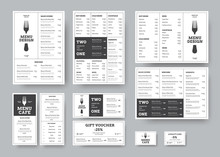 Set Of Menus For Cafes And Restaurants In The Classic White Style With Division Into Blocks.