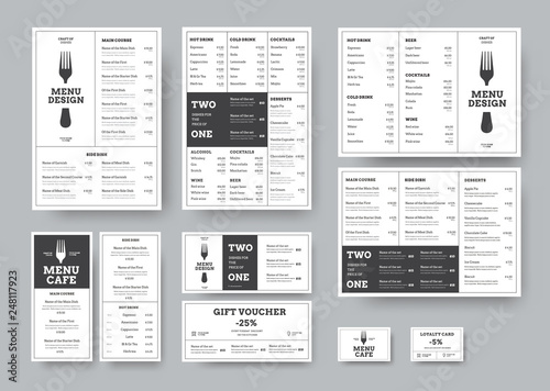 Stampa su Tela set of menus for cafes and restaurants in the classic white style with division into blocks