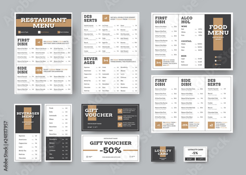Vector menu templates for cafes and restaurants in white with black blocks.