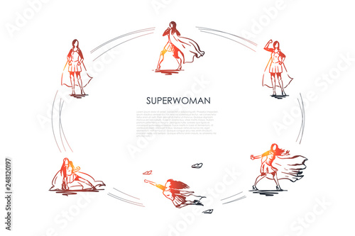 Photo  Superwoman - woman in superman costume and on high heels flying, struggling and