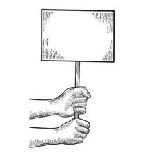 Blank Empty Poster On Demonstr...