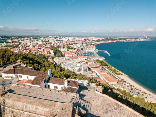 Aerial view of Setubal with fortress in the forest, Portugal Fototapet