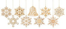 Set Of Hanging Wooden Snowflakes Christmas, Isolated On White