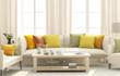 Leinwandbild Motiv Living room with bright cushions