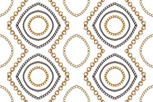 Golden And Blue Chain On White. Luxury Pattern.