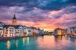 canvas print picture Zurich. Cityscape image of Zurich, Switzerland during dramatic sunset.