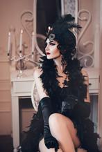Elegant Woman In Retro Style O...