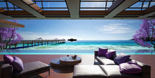 Ocean Villa, Luxury House With Pool And Sea View, 3d Render