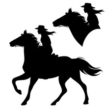 Cowgirl Riding Running Horse - Beautiful Female Horseback Cowboy Black And White Vector Silhouette Set