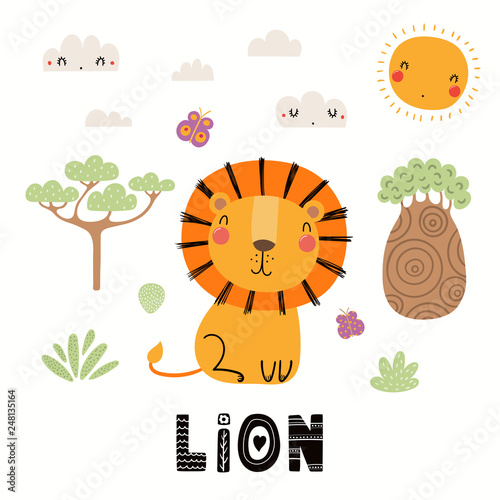 Foto auf Gartenposter Abbildungen Hand drawn vector illustration of a cute lion, African landscape, with text. Isolated objects on white background. Scandinavian style flat design. Concept for children print.