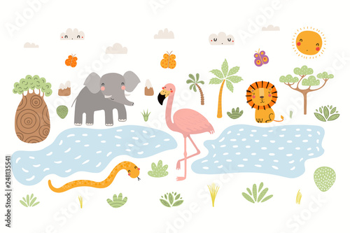 Papiers peints Des Illustrations Hand drawn vector illustration of cute animals lion, flamingo, elephant, snake, African landscape. Isolated objects on white background. Scandinavian style flat design. Concept for children print.