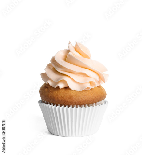 Fotografia  Delicious cupcake with light orange cream on white background