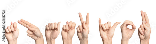 Fotografía  Woman showing phrase Thank You on white background. Sign language