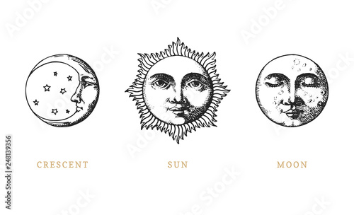 Fototapeta Set of Sun, Moon and crescent, hand drawn in engraving style
