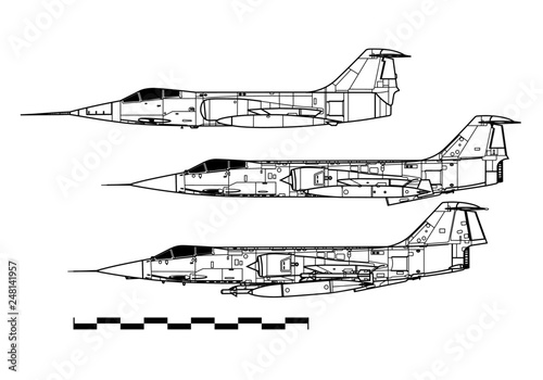 Lockheed F-104 STARFIGHTER. Outline drawing Canvas Print