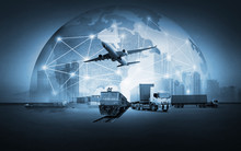 Abstract Image Of The World Logistics, There Are World Map Background And Container Truck, Ship In Port And Airplane