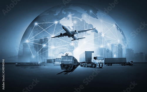 Abstract image of the world logistics, there are world map background and contai Tablou Canvas
