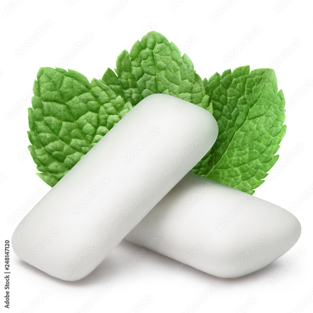 Fototapety, obrazy: Two chewing gum pieces with fresh mint leaves, isolated on white background