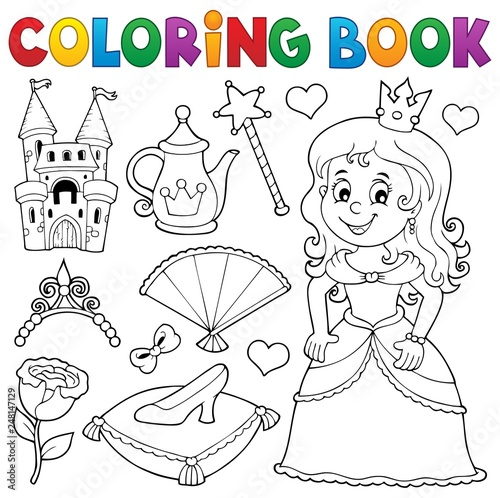 Papiers peints Enfants Coloring book princess topic set 1
