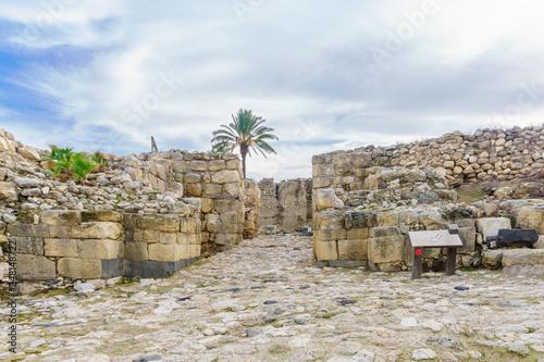 Antique Canaanite gate in Tel Megiddo National Park Canvas Print