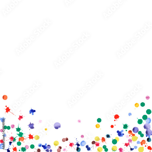 Fototapeta Watercolor confetti on white background. Rainbow colored blobs square gradient. Colorful bright hand painted illustration. Happy celebration party background. Bold vector illustration. obraz na płótnie