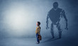 canvas print picture Little boy s self image appear as a big robotman shadow on his background