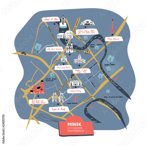 Obraz na plátně Minsk city center sightseeings cartoon map with what to see in the capital of be