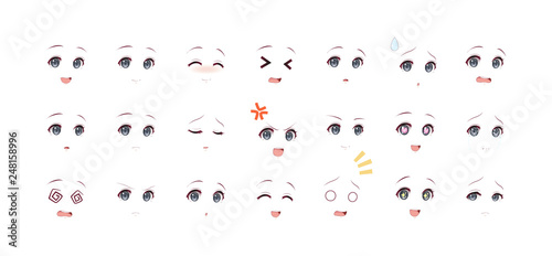 Emotions dark eyes of anime manga girls - 248158996