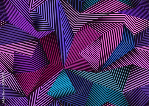 Fotografie, Obraz  Abstract seamless pattern with lines