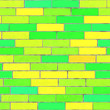 canvas print picture - green / yellow brick wall seamless background texture for a colourful environment