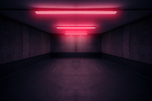 Dark Underground Room With Red...