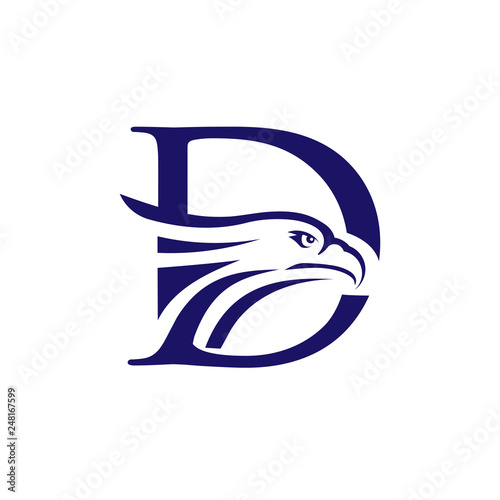 Letter D Templates.Creative Initial Letter D And Eagle Head Logo Design