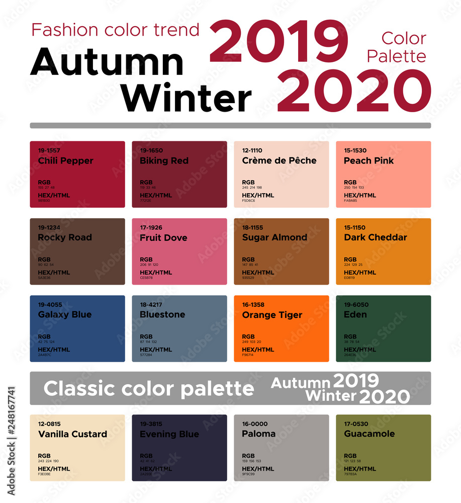 Fototapety, obrazy: Fashion color trend Autumn Winter 2019-2020 and classic color palette. Palette fashion colors with named color swatches.