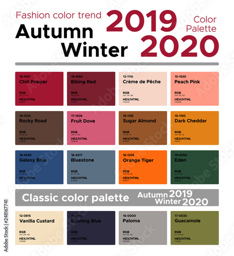 Color Inspiration In 2019: Fashion Color Trend Autumn Winter 2019-2020 And Classic