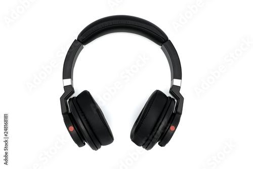 Top view of black wireless headphones isolated on white background Fototapeta