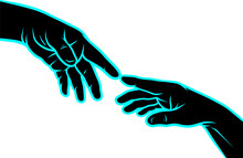Silhouette Black Hands Touching Each Other. Human Fingers Connecting. On Black Background. Vector Icon.
