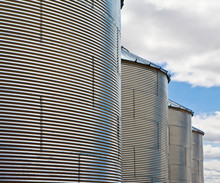 Row Of Grain Silos