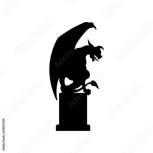 Fotografia, Obraz Black silhouette of gothic statue of gargoyle