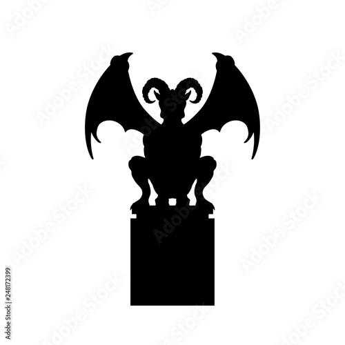Obraz na plátně Black silhouette of gothic statue of gargoyle