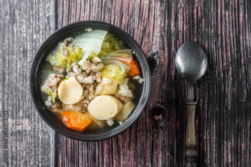 Photo  Clear Soup with Tofu and Minced Pork.