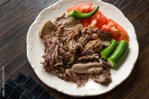 Traditional Turkish Offal Food Kelle Sogus / Lamb Head Meat