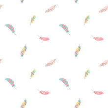 Seamless Boho Pattern. Vector Image On National American Motifs. Illustration Of Small Feathers. For Print, Background, Textile, Children, Wrapping Paper, Holiday, Birthday, Baby Shower