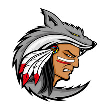 American Indian In The Wolf Skin On A White Background.