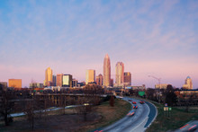 Downtown Charlotte, At Dawn, Business District And Highway
